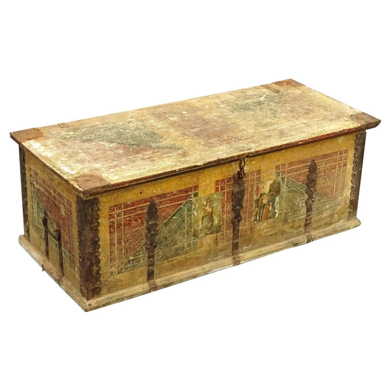 19th Century European Hand Painted Blanket Chest For Sale