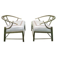 Pair Mastercraft Asian Inspired Faux Bamboo Brass Lounge Chairs, Mid-Century