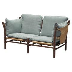 Arne Norell 'Ilona' Sofa with Buffalo Leather and Sky Blue Fabric
