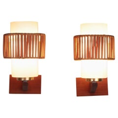 Vintage Set of 2 Wall Lamps of Opal Glass and Rattan Detail, 1960s