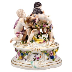 Early Meissen Cupid Group Around 1750, Allegory of Spring, with Additional Base