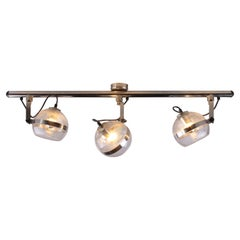 Ceiling Lamp with Three Spots of Chrome and Glass from the 1960s