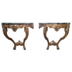 Pair of Louis XV Style Fruitwood Console Tables with Verde Green Marble Tops