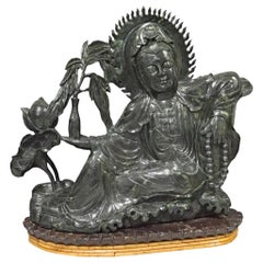 """Massive 37 1/2"""" High Chinese Guanyin Statue in Mottled Green Jade"""