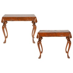 Pair of Italian Sculptural Carved Walnut and Olive Wood Console Tables, 1920's