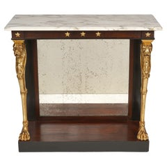 Regency Rosewood Egyptian Revival Marble Top Giltwood Lion Leg Console Table