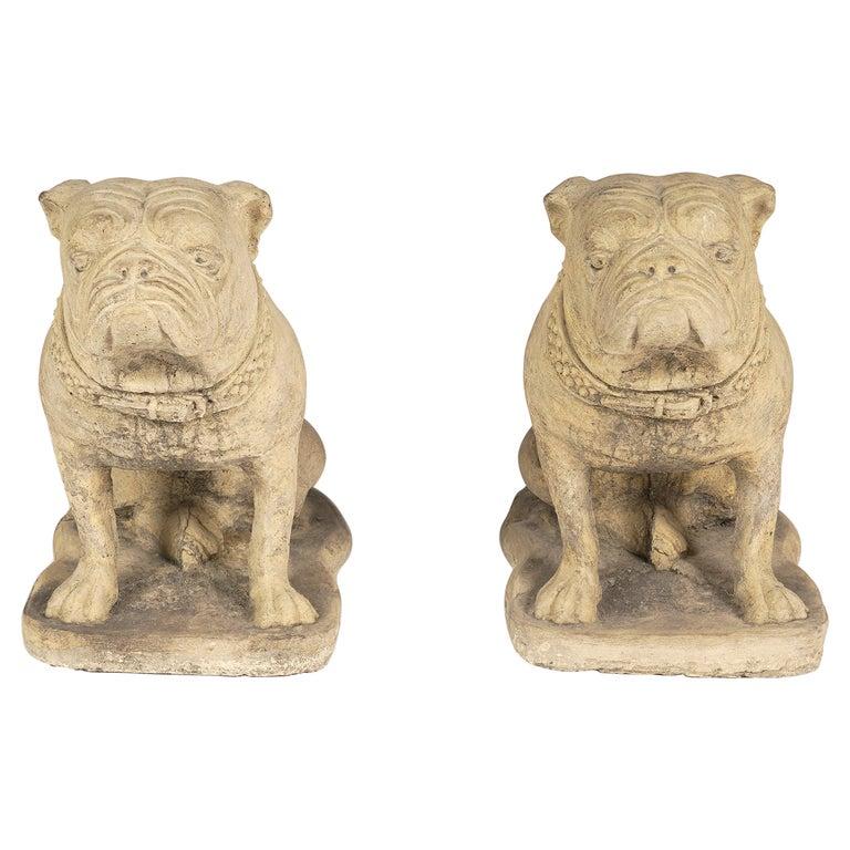 Pair of 20th Century Cast Cement English Bulldogs