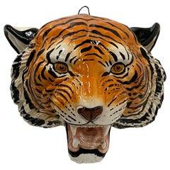 Striking Italian Hand Painted Terracotta Tiger Head Wall Sculpture