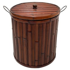 Handsome Bamboo Container Hamper with Metal Handles