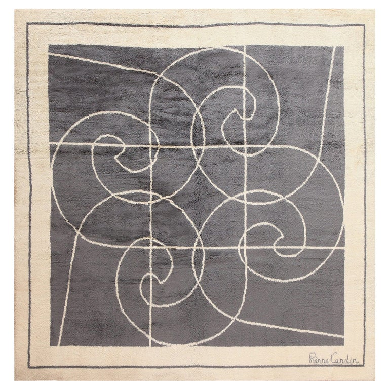 Square Size Mid-Century Rug by Pierre Cardin. Size: 8 ft x 8 ft