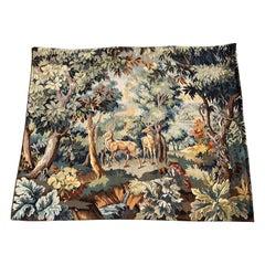 "Mid-Century Flemish Woven Deer Tapestry Titled ""La Verdure aux Cerfs"""