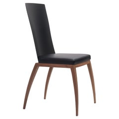 Fibra Chair, Design Chair in Carbon Fiber and Canaletto Walnut, Made in Italy