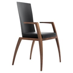 Modern Design Chair with Armrests, Made in Canaletto Walnut and Carbon Fiber