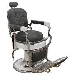 Restored 1930s Koken Barber Chair Gray & White Finish w/ Razor Sharpening Strip