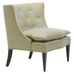 Slipper Upholstered Chair with Concave Tufted Back and Tapered Legs