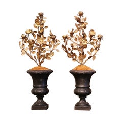 Pair of Early 20th Century French Iron and Brass Candelabras Medici Vases