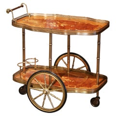 Mid-20th Century French Rosewood and Brass Tea Cart with Marquetry Inlaid Motifs
