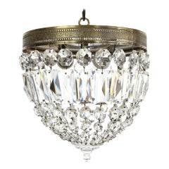 Crystal Basket Flush Mount Light with Decorative Rim and Crystal Ball Finial