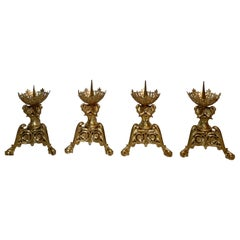 Set of 4 Large Antique Early 19th Century Gold Bronze Chateau Candle Holders
