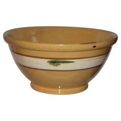 19thC Large Mocha Green Seaweed Yellow Ware Bowl