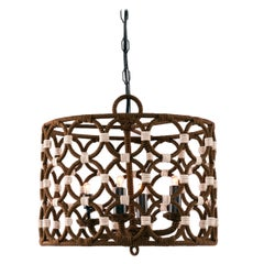 Drum and Rings Chandelier Wrapped in Passementerie and Silk Cords