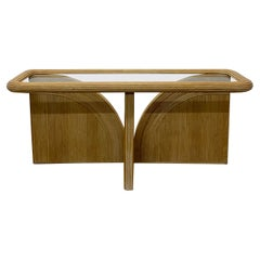Organic Modern Pencil Reed and Glass Console Table, 1980s