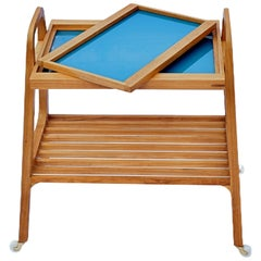 SOFO Tea Trolley in Freijo Wood with Blue Glass Tray