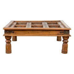 Indian 19th Century Paneled Door with Iron Accents Turned into a Coffee Table