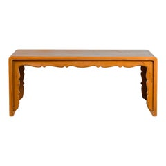 Chinese Vintage Elmwood Waterfall Coffee Table with Scalloped Apron