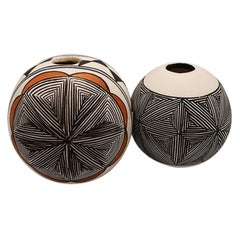 Two Polychrome Southwestern Indian Acoma Vessels in Brown, Black Orange, a Pair