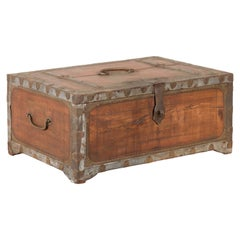 19th Century Indian Wooden Box with Brass Details and Distressed Patina