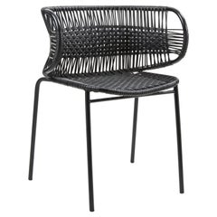 Black Cielo Stacking Chair with Armrest by Sebastian Herkner
