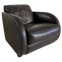 Art Deco Style Vintage Brown Leather Lounge Chair by Roche Bobois