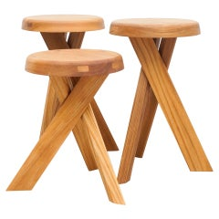 Set of Three Pierre Chapo Solid Elmwood Stools S31A and S31B