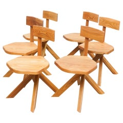 Pierre Chapo Set of Six Chairs, Solid Elmwood
