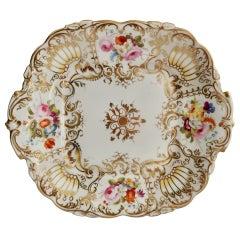 Porcelain Cake Plate, Coalport, Gilt and Flowers Attr. Thomas Dixon, 1834
