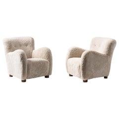 Pair of Danish Cabinetmaker 1950s Sheepskin Armchairs