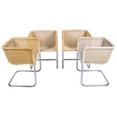 Bauhaus Chairs D43 Tubular Frame with Bucket Seat Set of 4