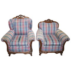 Antique King and Queen Carved Wood Plaid Chairs, a Pair 1900s