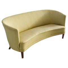 Danish Art Deco 'Banana' Sofa in Yellow Upholstery