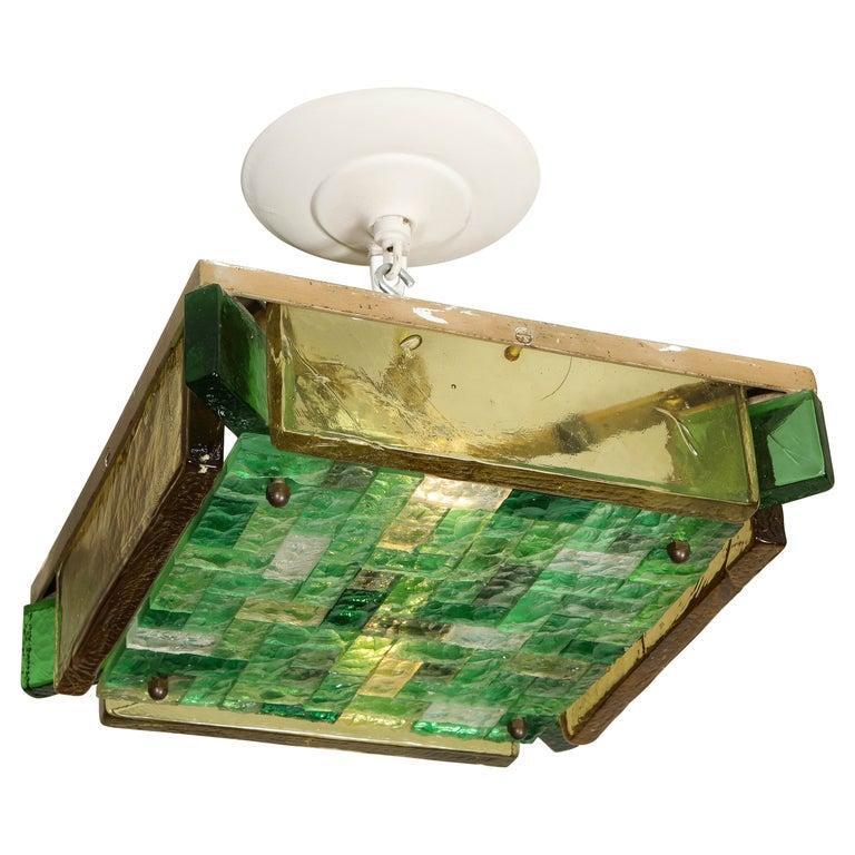 Vintage Poliarte Verona Square Flush-Mount Ceiling Light For Sale