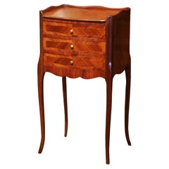 Early 20th Century French Louis XV Walnut Inlay and Marquetry Bedside Table