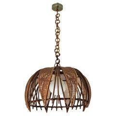 Rattan Wicker Wire Large Dome Pendant Hanging Light / Lantern, 1960s