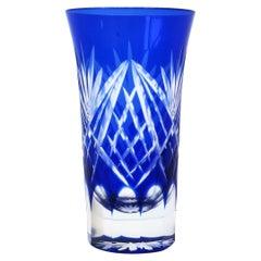Czech Blue Bohemian Crystal Vessel or Vase