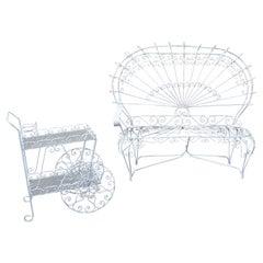 Mid-Century Modern Salterini Twisted Wrought Iron Patio Set Settee Tea Cart 50s