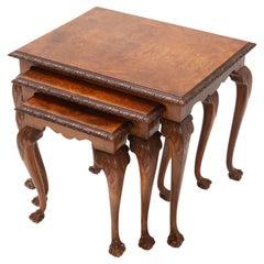 Burr Walnut Chippendale Nesting Tables, 1920s