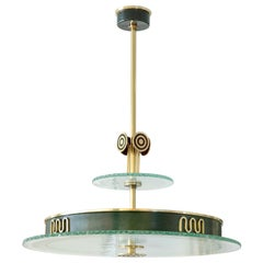 Swedish Art Deco Pendant of Patinated and Polished Brass from Bohlmarks