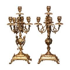 Pair of 19th Century French Napoleon III Bronze Dore Five-Light Candelabras