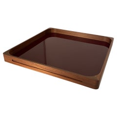 Large Walnut Bordeaux Square Tray, in Stock