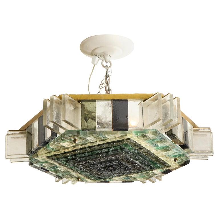 Vintage Poliarte Verona Hexagon Flush-Mount Ceiling Light For Sale
